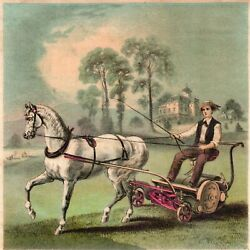 Victorian Advertising Card - Excelsior Horse Drawn Lawn Mower - New York - Used