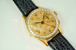 Angelus Chronodato Calendar Chronograph Signed Grand Rex Gold Filled C.1950and039s