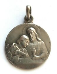 Exquisite Old Religious Medal First Communion Dated 1915
