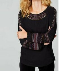 J. Jill  XL Top Artsy  Embroidered  Peasant style  Black  Cotton Jersey $89  NWT