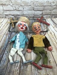 Vintage Marionette Puppets 2 Mexican Hombre Banditos Hat String Dolls Lot Of Two