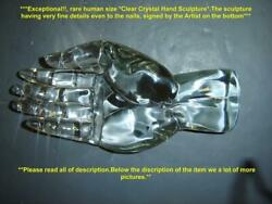 Exceptional Rare Vintage Human Life Size Crystal Hand Sculpture Signed