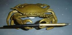 Antique Superb Rare Brass Life Size Ocean Crab Inkwell And Pen.