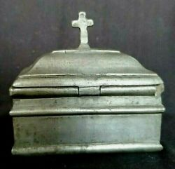 Clergy Priest Personal Travel Casket Double Pewter Metal Rare Inkwell Ink Well