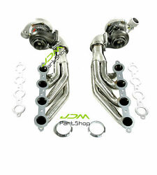 Up Forward Exhaust Headers + T66 Oil Cold Turbo A/r.68 T4 Flange For Ls1 Ls2 4.8