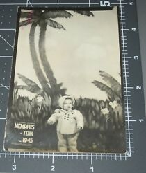 1945 Memphis Tennessee Tn Child Palm Tree Backdrop Arcade Studio Vintage Photo