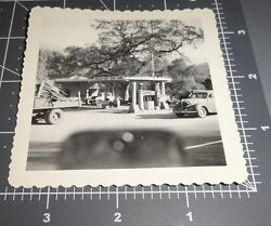 Mountain Oak Inn Conoco Gas Station Hanging Sign Visible Pump Vintage Photo