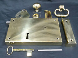 New Large Ball And Ball Brass Replica 1700and039s Carpenter Lock Keeper Set Left Side
