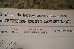 8000 Watertown Ny 1880s/90s Signatures In Book Jefferson County Savings Bank
