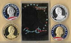 Barack Obama 44th President Gold Card Auto 4 Silver Gold Coin Lot Yes We Can