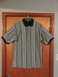 Knights Of Round Table Men's Black White Gray Striped Shirt Size L Large