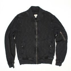 Denim And Supply Mens Bomber Jacket M Charcoal Cotton Full Zip