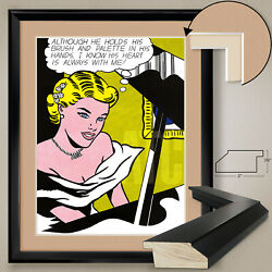 32wx40h Girl At Piano 1963 By Roy Lichtenstein - Double Matte Glass And Frame