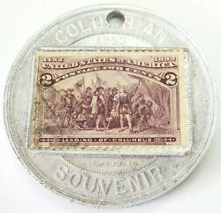 1892-1893 Worldand039s Columbian Expo Encased 2 Cents Postage Stamp Souvenir Medal