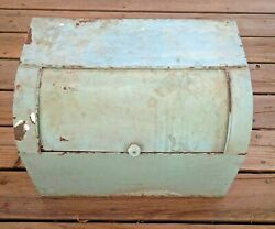 Old Farmhouse Antique Bread Box 18 Wide Mint Green Original Paint Rust And Wear