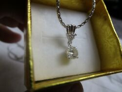 14k White Gold Necklace With Hanging Diamond Pendant .70 Ct Chain 18 Long