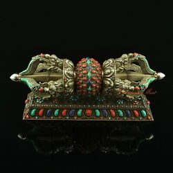Excellent Quality Hand Carved Silver Vajra / Dorje With Copper Stand Set Nepal