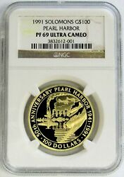 1991 Gold Solomon Is 500 Minted 1oz 100 Pearl Harbor Ngc Proof 69 Ultra Cameo