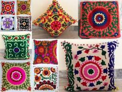 Ethnic Suzani Cushion Cover 16x16 Vintage Embroidered Pillow Throw 20 Pcs Lot
