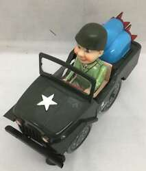 Masudaya U.s. Army Jeep Vintage Tin Toy Lithographed Battery Operated Very Rare