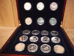 The London Mint Office Set Of 18 Silver Proof Crowns Aircraft Of World War Ii