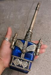 Antique Color Blue Czech Glass Perfume Bottle Metal Cover Rose Wate Collectable