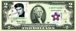 2 Dollars 2003 Star Stamp Cancel The Music Icons Elvis Presley 500