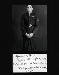 Edsons Raider Bob Youngdeer Guadalcanal Usmc Wwii Signed Cut With 5x7