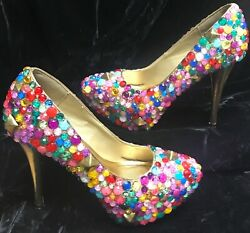 James Price HAUS OF PRICE Designer Platform Bejeweled High Heel Shoes Sz 7 12 $100.00