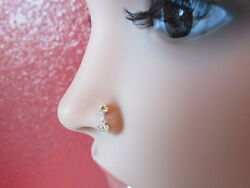 Stylish Sterling Silver Nose Stud Drop Dangle with CZ 925 solid silver ball end $7.99
