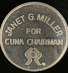 Janet G Miller For Cuna Chairman .999 Silver Round Colorado 1989 Campaign Token