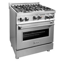 Zline 30 In Professional 40 Cu Ft 4 Gas On Gas Range Stainless Steel Rg30