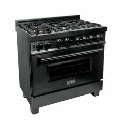 Zline 36 In Professional 46 Cu Ft 6 Gas On Gas Range In Black Stainless Rgb-36