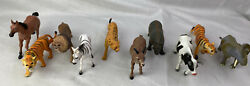 Lot Of 10 Rubber/plastic Toy Animals Wildlife Zoo Farm Tigers Educational