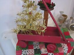 Primitive Wood Old Toy Red Wagon With Handle And Wood Wheels.