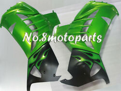 Fit For 2012-2017 Zx14r New Green Black Injection Left Right Side Fairings A03