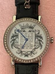 Rare Authentic JUICY COUTURE Fairytale WATCH Black Leather Band Swarovski Accent $180.00