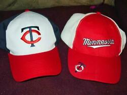 2 Dairy Queen Hats - Minnesota Twins Mlb Caps Both Red And White Very Nice