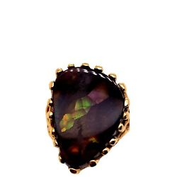 Antique 14k Yellow Gold Natural Fire Agate Ring Size 5.5