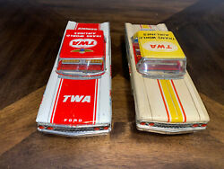 Vintage Twa Friction Airport Service Car Lot Of 2 Cars