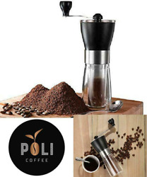 Manual Coffee Grinder Conical Adjustable Ceramic Burr Mill Brush Stainless Steel