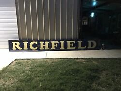 Vintage Richfield Porcelain Gas And Oil Dealers Sign. 16andrsquo Long Odessa Texas