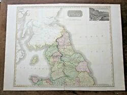 1817 Thomson Northern England Wales Antique Map New General Atlas 72x53cms