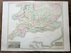 1817 Thomson Southern England Wales Antique Map New General Atlas 72x53cms South