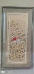 Antique Chinese Embroidery Painting Thousand Kids Elderly Birthday 祝寿图