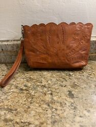 Vintage Tooled LL Leather In Leathers Brand Wristlet Cosmetic Bag Paraguay