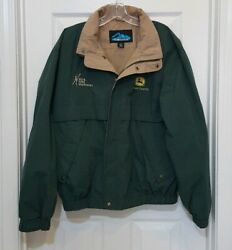 Tri Mountain John Deer Men's Size M Green Waterproof Hooded Jacket Coat Full Zip $22.99