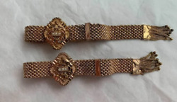 Ca. 1882 Pair Of Victorian Marriage Bracelets- Gold Filled With Seed Pearls.