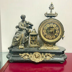 F246 Antique 1800and039s Ansonia Newton W/2 Decanters Bronze Miniature Stand Clock