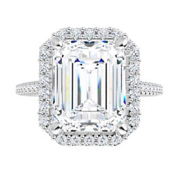 2.35 Ct Moissanite Emerald Forever One Halo 2 Tone Pave Engagement Wedding Ring